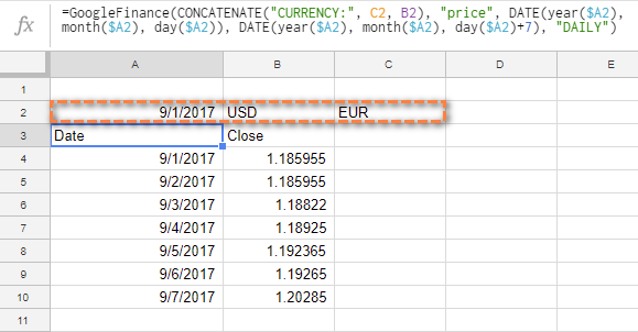 Googlefinance With Cell References In Each Argument