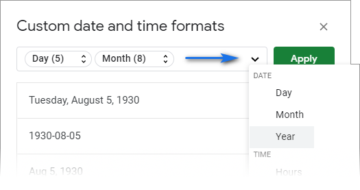 Add as many units to your custom date format as you need.