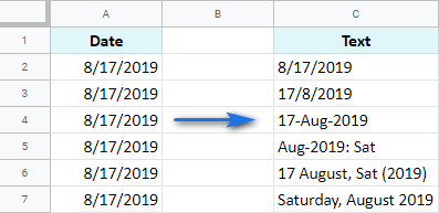 Google Sheets: convert dates to text and change the format.