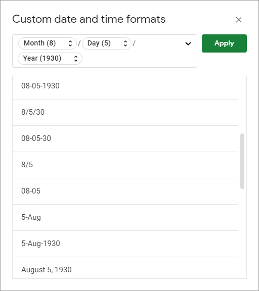 Google Sheets custom date and time formats.