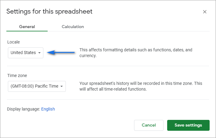 Change your spreadsheet locale to ensure the correct Google Sheets date format.