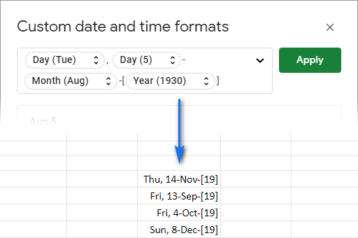 Google Sheets custom date format anew.