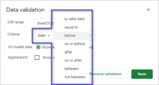 Date in Data validation.