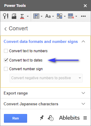 Convert format on Google Sheets with Power Tools