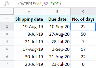 Subtract years and calculate remaining days between two dates in Google Sheets.