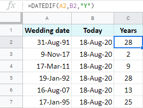 Calculate Google Sheets date difference in full years.