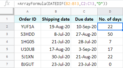 Array formula to calculate days between two dates in Google Sheets.