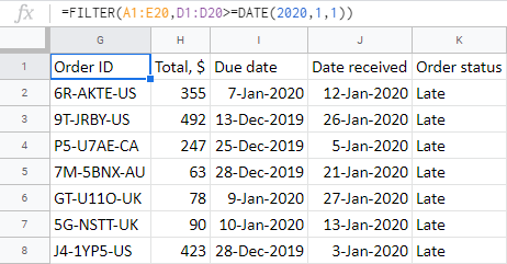 Find orders received after a particular date.