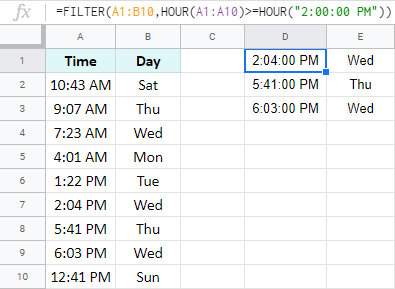 How to use the HOUR function in the FILTER function.