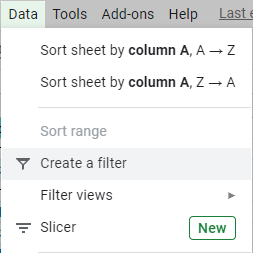 Filter data using the Google Sheets menu.