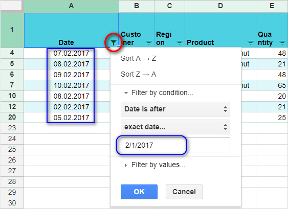 Filter values by an exact date.