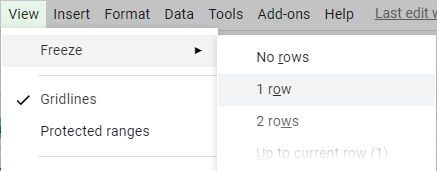Freeze the first row to have quick access to filter settings.