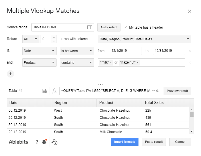 Filter data in Google Sheets using Multiple VLOOKUP Matches.