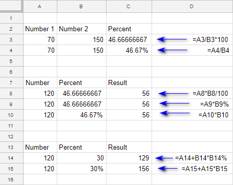 Using percent number format in calculations.