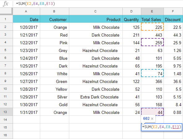 How to select non-adjacent cells.