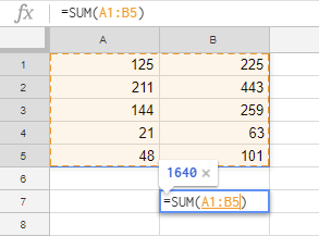 Data ranges in Google Sheets.