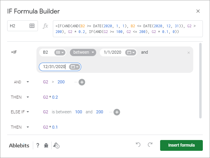 IF Formula Builder add-on for Google Sheets.
