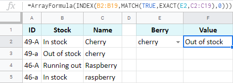 Use the EXACT function to build case-sensitive INDEX MATCH.
