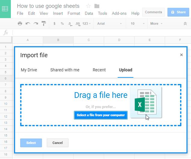 Drag a file