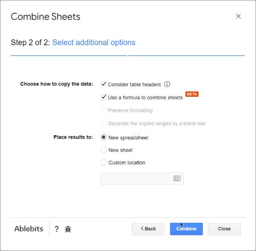 Adjust combining options.