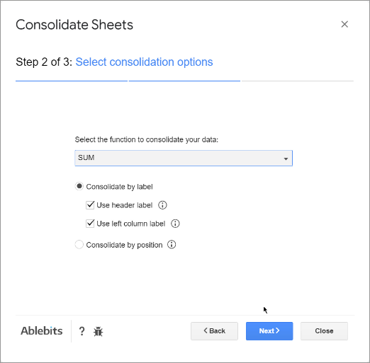 Select consolidation options.