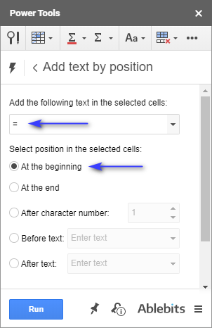 Add an equal sign to each cell.