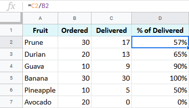 Google Sheets percentage formula.
