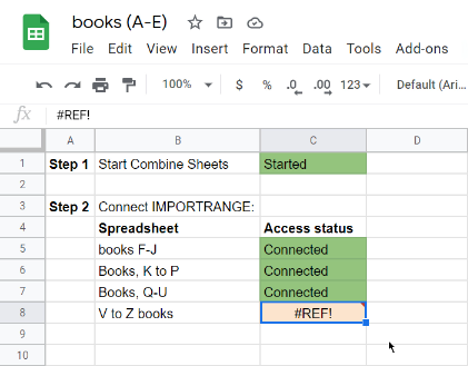 Grant IMPORTRANGE access to other sheets.