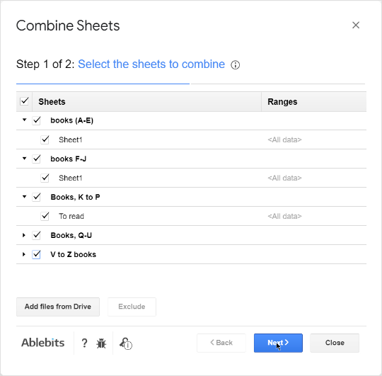 Select sheets to combine.