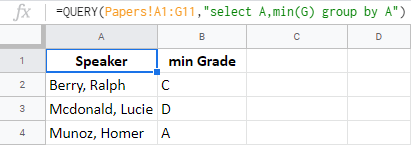 Group rows using QUERY function in Google Sheets.