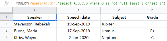 Use both limit and offset in Google Sheets QUERY.