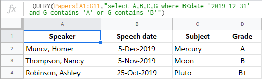 Use AND and OR logic operators in the Google Sheets QUERY When clause.