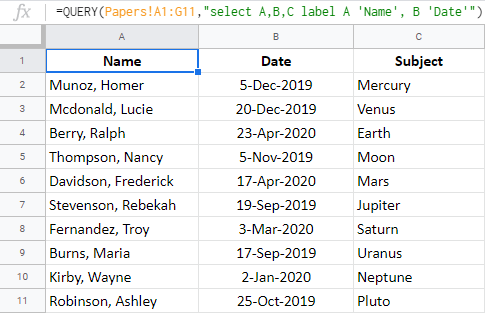 Rename columns using Google Sheets QUERY label clause.