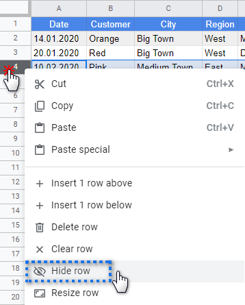 Quick ways to move, hide, style, and change rows in Google Sheets