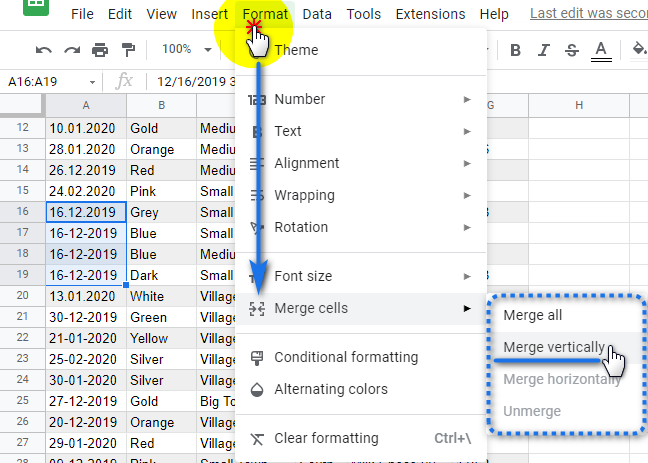 Merge rows using the Google Sheets menu.
