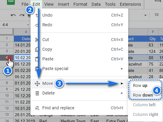 Use the Google Sheets menu to move rows up and down.