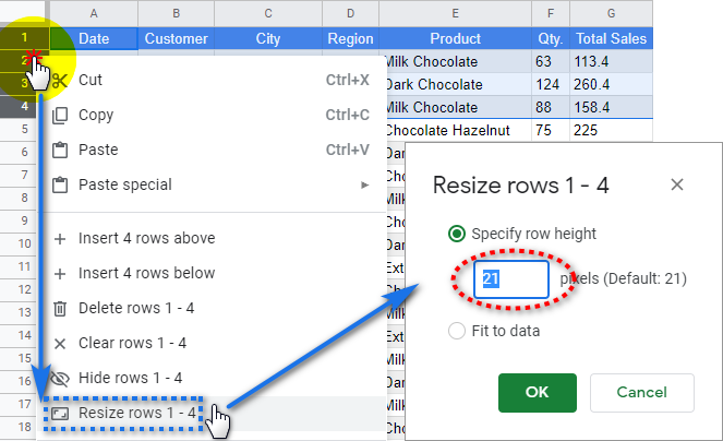 Resize row using the context menu and enter the needed height in pixels.