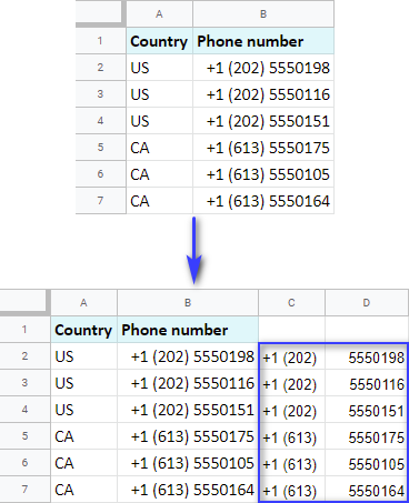 Split text to columns by position in Google Sheets.