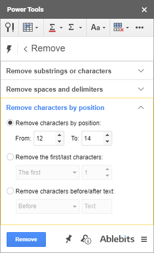 Remove characters by position.