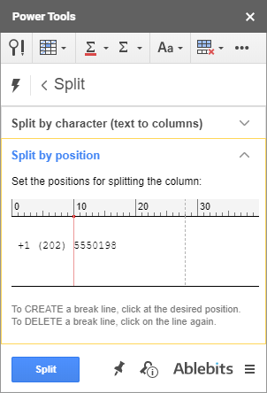 Specify the position to split cells in Google Sheets.