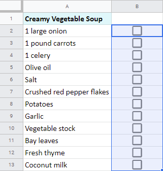 Insert Google spreadsheet tick boxes.