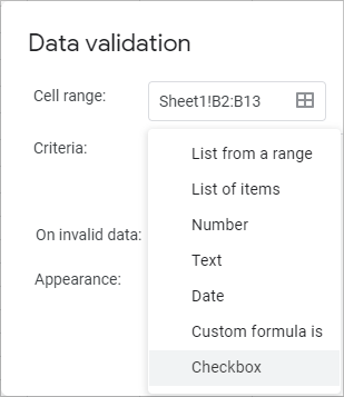 Select Checkbox as a criterion for your Data validation.