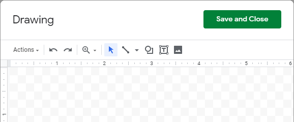 The Drawing window in Google Sheets.