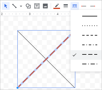 Draw and adjust your own cross mark in Google Sheets.