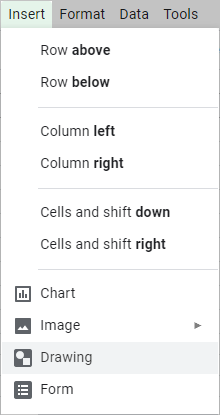 Insert drawings in Google Sheets.