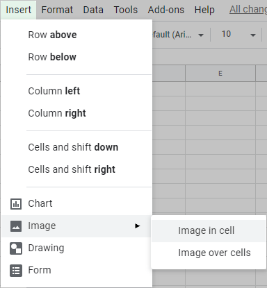 Insert image in cells in Google Sheets.