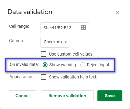 Show warning or reject input on invalid data.