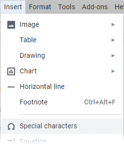 Insert special characters in Google Docs.
