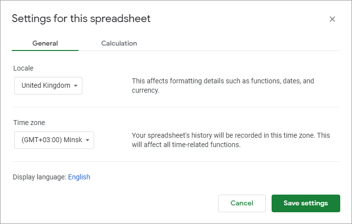 Check your spreadsheets locale.