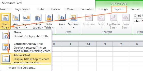 Adding a chart title in Excel 2010
